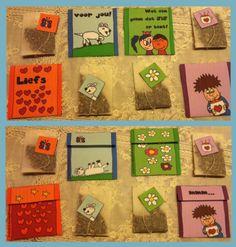 Zelf vrolijke theezakjes maken! Zakjes zijn ook geschikt voor kleine kadootjes en passen makkelijk in een envelop als kleine verrassing bij een kaart die je stuurt. Werkbeschrijving /download op website gedachte-kracht.  Ook om zelf te kleuren en blanco om zelf te tekenen.
