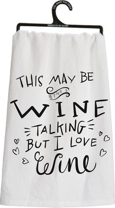 Primitives by Kathy Love Wine Tea Towel, 28-Inch by 28-Inch
