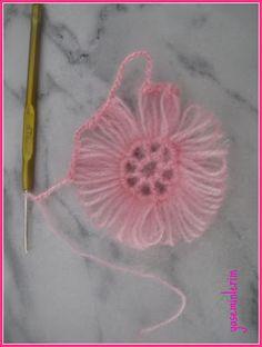 "Yaseminlerim: """"Pembe Sal,In Birlestirme - DIY & Crafts Crochet Stitches Free, Crochet Motif, Crochet Shawl, Crochet Designs, Crochet Patterns, Diy Crochet Flowers, Crochet Flower Tutorial, Crochet Leaves, Hairpin Lace Crochet"