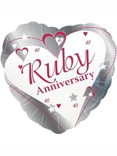 "40th Ruby Anniversary Wishes 18"" Foil Balloon"