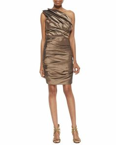 Ruched One-Shoulder Dress, Bronze by Halston Heritage at Neiman Marcus.