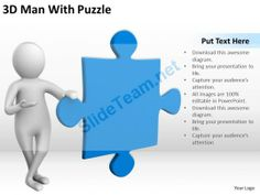 D People In Circle Around Blue Puzzle Ppt Graphics Icons