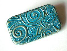 Metal Pill Box Teal Spiral Swirls Funky Design by claytheism, $18.00