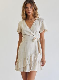 Neutral Bridesmaid Dresses, Beige Dresses, Grad Dresses, Neutral Dress, Midi Dresses, Wrap Dress Outfit, The Dress, Dress Outfits, Casual Fall Outfits