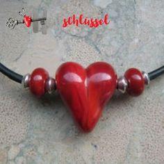 Herzschlüssel: Herz aus Glas, Glasperlen, lampwork, glass beads, #DIY
