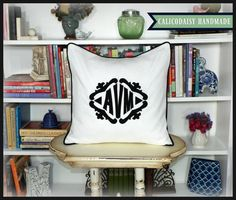 The Lisette Applique Framed Monogrammed Pillow by calicodaisy #homedecor #livingroom