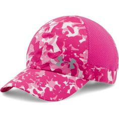 Under Armour Women's UA Power In Pink® Fly Fast Cap ($19) ❤ liked on Polyvore featuring activewear, under armour sportswear, pink sportswear, under armour and logo sportswear