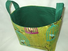 Got stuff to organize? Medium Fabric Storage Bin Organizer or Tote in by Lime Lantern Blooms Print BagsOfaFeather
