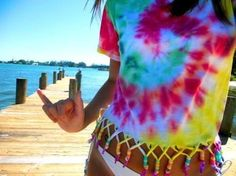 DIY tie dye shirt with beaded fringe