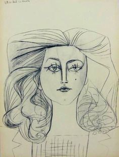 Françoise Gilot, Picasso's young muse and lover between 1943 and 1953.    http://www.artfinder.com/work/portrait-of-francoise-gilot-pablo-picasso-1/in/art.daily/