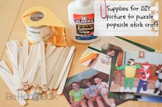 DIY Craft Stick Puzzles | Skip To My Lou Like=tute on making a puzzle using a photo, drawing,and Popsicle-sticks!