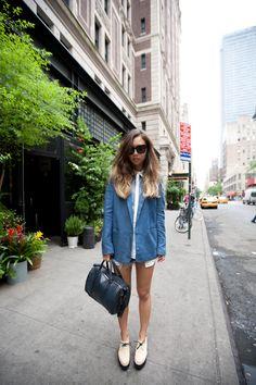 (Acne blazer, Sandro shirt, Ksubi Alberceque shorts, Robert Clergerie for Carven shoes, Céline bag and sunglasses)  Fashiontoast | NOWMANIFEST.com