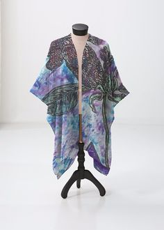 This sheer kimono-style wrap comes to the knee and drapes beautifully over a swimsuit or summer dress. Perfect for festivals or the beach. Kimono Top, Kimono Style, Kimono Fashion, Blue Brown, Pink Purple, Beach Artwork, Print Patterns, Swimsuits, Rainbow