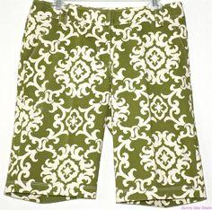 Tommy Bahama Bermuda Shorts Cotton Green Italian Walking Chino Flat Front 10  #TommyBahama #BermudaWalking