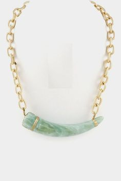So Jaded Natural stone horn pendant chain necklace.