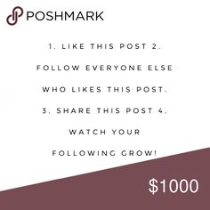 FIRST FOLLOW GAME! Are you ready?! Participate in my first follow game! Like this post, follow me, follow all users who liked this post, and then share with your followers! Let's see how quickly we can max this out! Mention this follow game post on any of my listings and I'll give you 10% off! AND GO! Tops