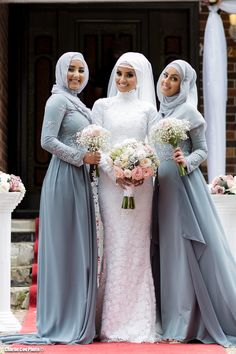 I like that the bride and groom stuck to their desire to have a small, intimate wedding – almost unheard of in the Arab culture! Muslim Wedding Gown, Arabic Wedding Dresses, Muslimah Wedding Dress, Modest Wedding Gowns, Muslim Wedding Dresses, Weeding Dress, Wedding Hijab, Wedding Bridesmaid Dresses, Bridal Dresses