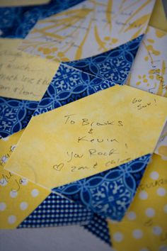 Style Me Pretty | GALLERY & INSPIRATION Quilt squares for your guests to sign and them make a quilt out of them.  Genius!