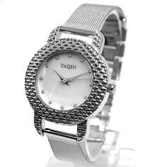 FW947B Ronde PNP Shiny Silver horlogekast witte wijzerplaat Ladies Women Bracelet Watch