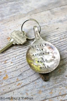 DIY Stamped Silver Spoon Keychain - these are so cute!  eclecticallyvintage.com