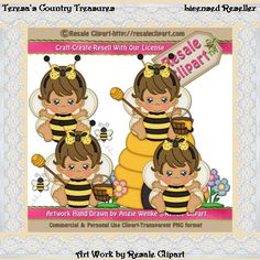 Bumble #Bee #Baby #Girl with Brown Hair #Clipart