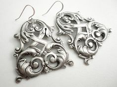 Silver Chandelier Earrings Marie Antoinette Gothic by laromantica on Wanelo