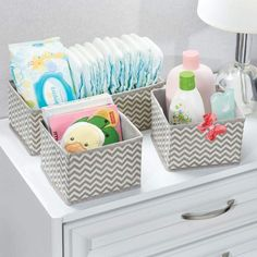mDesign Soft Fabric Dresser Drawer and Closet Storage Organizer for Kids/Toddler Room, Nursery, Playroom, Bedroom - Chevron Zig-Zag Print - Organizing Bins in 2 Sizes - Set of 12 - Taupe/Natural Nursery Storage, Ikea Storage, Closet Storage, Storage Ideas, Storage Solutions, Baby Nursery Diy, Nursery Room, Diy Baby, Baby Room