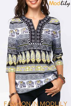 Split Neck Leaf and Elephant Print Blouse Stylish Tops For Girls, Trendy Tops For Women, Blouses For Women, Blouse Styles, Blouse Designs, Printed Blouse, Shirt Blouses, Couture, Quarter Sleeve