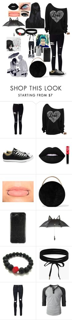 """""""emo valentine"""" by pandaderpienes ❤ liked on Polyvore featuring Miss Selfridge, Converse, Max Factor, Lime Crime, Eddie Borgo, Boohoo, AMIRI and Vans"""