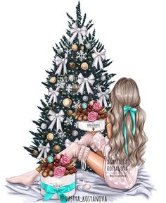 Fashion Illustration Speed Painting with Ink - Drawing On Demand Illustration Noel, Christmas Illustration, Illustration Artists, Christmas Drawing, Christmas Art, Anime Winter, Wallpaper Natal, Disney Collection, Arte Fashion