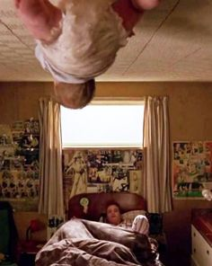 Trainspotting. Baby crawling at the ceiling.