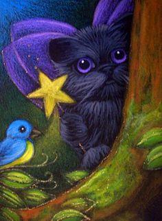 """""""Fairy Kitten Cat and Bluebird"""" par Cyra R. Cancel"""
