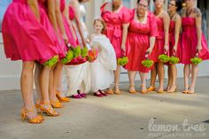 Orange Wedding Shoes - Heels and Pumps with Magenta Dresses
