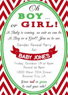 Red and Green Boy or Girl Gender Reveal Christmas themed invitation