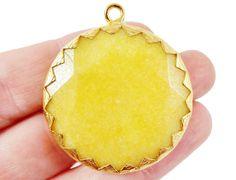 36mm Yellow Faceted Jade Pendant  22k Matte Gold by LylaSupplies, $11.50