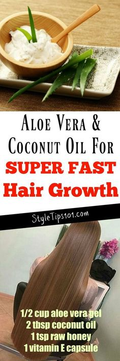 Hair Remedies Coconut Oil For Hair Growth. Worth a try haha. - Although they both have SO many uses, today we'll focus on aloe vera Coconut Oil Hair Treatment, Coconut Oil Hair Growth, Coconut Oil Hair Mask, Oil For Curly Hair, Hair Oil, Natural Hair Care, Natural Hair Styles, Natural Makeup, Hair Growth Treatment