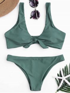 Knotted Scoop Bikini Top and Bottoms - LAKE GREEN L