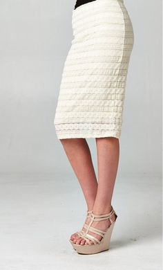 Womens modest circle lace detail pencil skirts available in S-L.