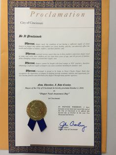 Cincinnati, OH - Mayoral proclamation recognizing Diaper Need Awareness Day (Oct. 2, 2016) #DiaperNeed www.diaperneed.org