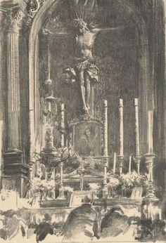 Chrystus na krzyżu, z modlącym się Wyczółkowskim - Leon Wyczółkowski
