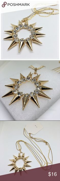 Spiked Sun Necklace Spiked sun pendant necklace with rhinestone details | Double chained lobster claw closure | Gold toned fashion jewelry | Holiday Statement Necklace Boutique Jewelry Necklaces
