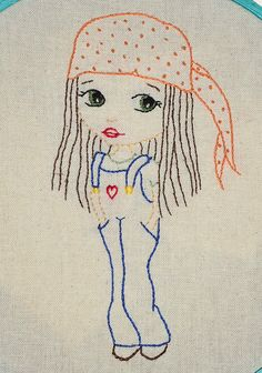 Girl in Dungarees - Hand Embroidery PDF pattern - By Solipandi