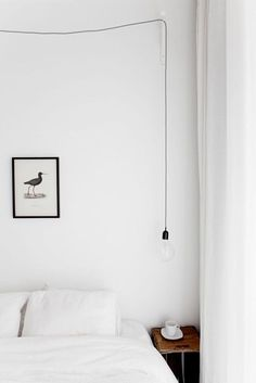 Suspended light bulb in the bedroom