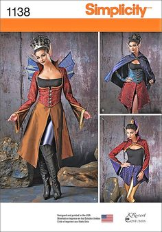 Cheapest Shipping.  Faerie Costume Pattern. Cosplay Dark Fairy. Steampunk Fairy Pattern Simplicity 1138 Sz:6-12 & 14-22. New Uncut. by FashionSew on Etsy