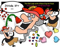 """This """"The Old Lady with a Rose"""" Clipart collection includes all the images shown in the sample picture and more. This clipart pack is a parody of the book - There Was an Old Lady Who Swallowed a Rose. This pack includes 32 different clips:* Black line masters of all clips* Old lady (several poses)* Hearts* Rose* Candy* Lace* Candy hearts* Diamond* Valentines* Cute!* etc...Graphics come in PNG format 300 dpi format.My graphics are suitable for printing and digital projects and can be easily…"""