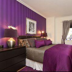 Purple and Light Purple Stripes - Bedroom Wall - Bedroom Decorating