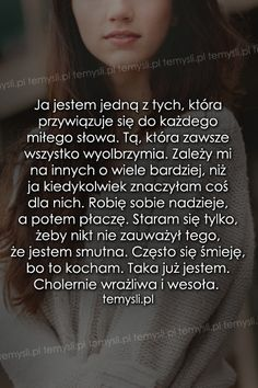 TeMysli.pl - Inspirujące myśli, cytaty, demotywatory, teksty, ekartki, sentencje All You Need Is Love, Good To Know, Sad Quotes, Life Quotes, Story Of My Life, Mind Blown, Quotations, Poems, Wisdom