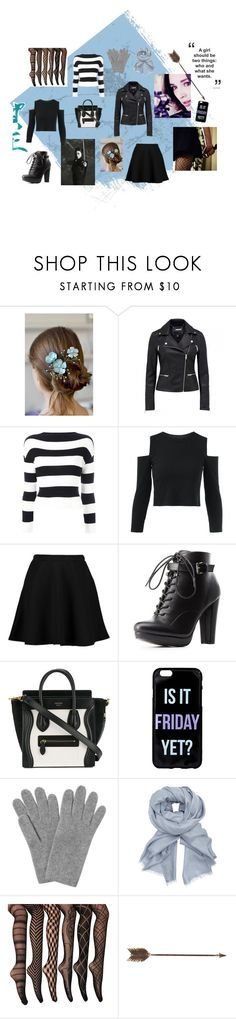 """""""The Girl With the Bow"""" by mcguirka ❤ liked on Polyvore featuring Boutique Moschino, Boohoo, Charlotte Russe, CÉLINE, L.K.Bennett, John Lewis and Creative Co-op"""