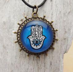 Kette mit Medaillon Hamsa  Schutzsymbol Hand der Fatima