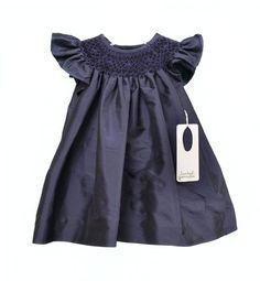 I love smocking!  New Isabel Garreton Girls Smocked Taffeta Babys Dresses Navy Blue Size 3M